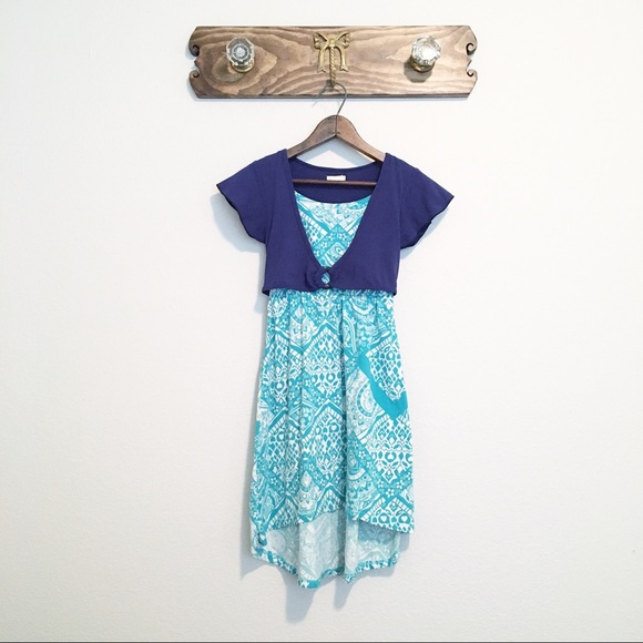 One Step Ahead Other - One Step Up Short Sleeve Summer Dress Blue Sz M